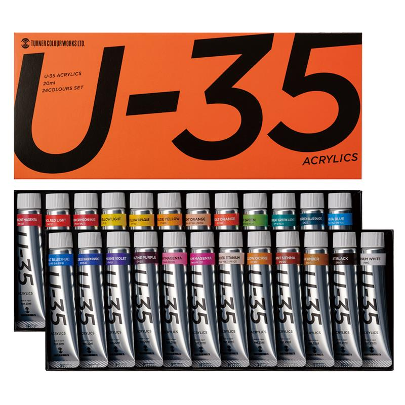 ターナー色彩 U-35 アクリリックス 20ml 24色セット